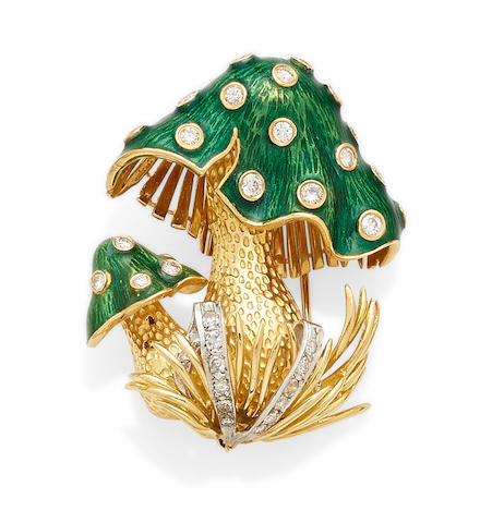 A diamond, enamel and bi-color gold mushroom clip