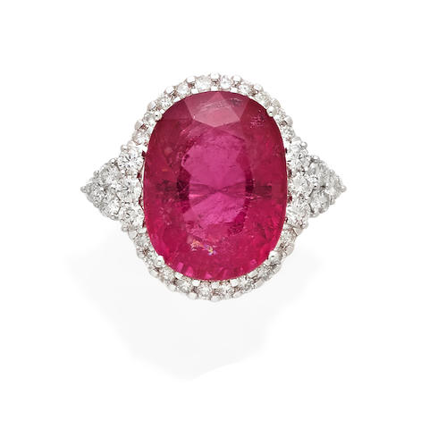 A tourmaline, diamond and 18k white gold ring