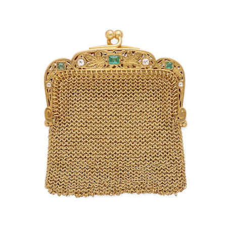 A mid 19th century emerald, diamond and 18k gold mesh purse, French,