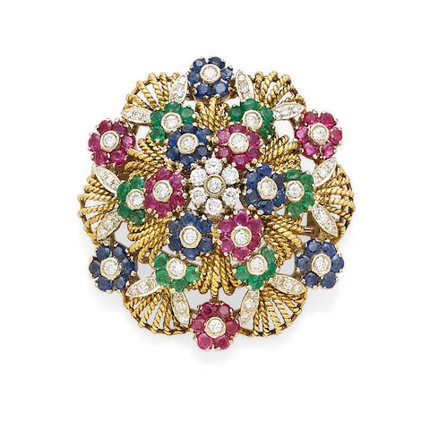 A sapphire, ruby, emerald, diamond and bi-color gold clip, Van Cleef and Arpels