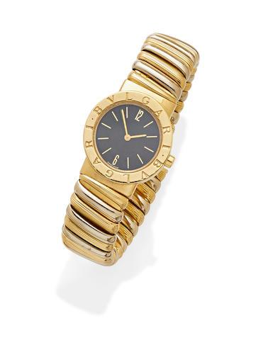 An 18k bi-color gold 'Tubogas' cuff wristwatch,  Bulgari