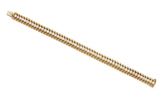 A diamond and 18k gold line bracelet, French