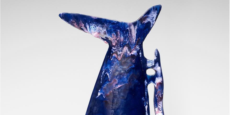 Fausto Melotti (1901-1986) Vaso Broccacirca 1963glazed stoneware, impressed mark 'FAUSTO MELOTTI MADE IN MILAN ITALY' and paper label 'No.5'height 19 1/2in (49.5cm); width 11 1/4in (28.5cm)