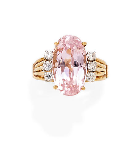 A kunzite, diamond and 14k gold ring