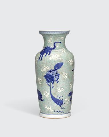 An underglaze blue and polychrome enameled vase Republic period