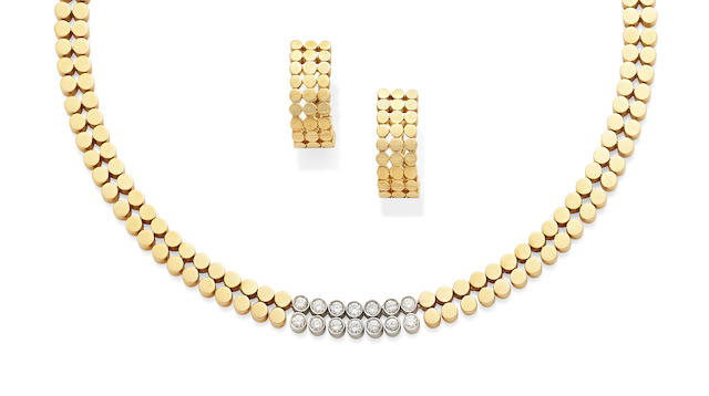 A diamond and 18k gold necklace, together with a pair of 18k gold ear clips
