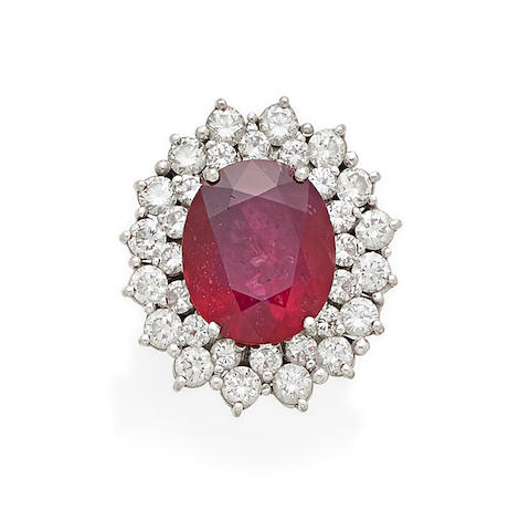 A Ruby, Diamond and 14k white gold ring