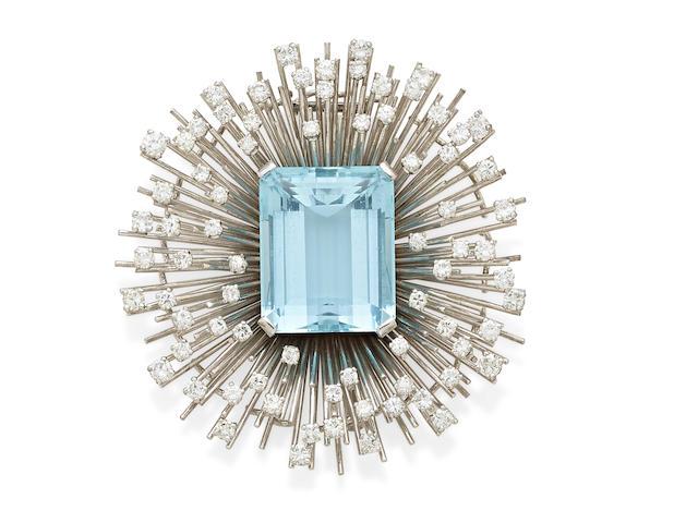 An aquamarine, diamond and  18k white gold clip, Retzignac Caracas
