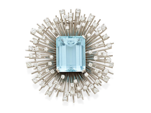 An aquamarine, diamond and  18k white gold clip, Retzignac Caracas