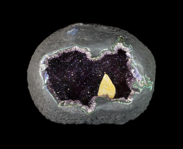 Superb Gem Amethyst Cave with Calcite Crystal