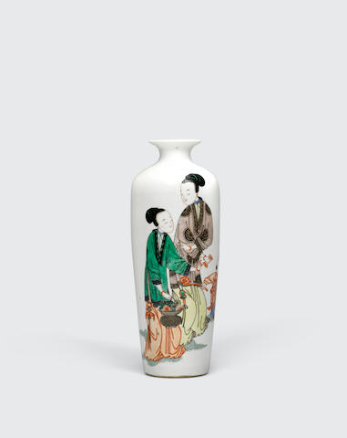 A famille verte porcelain vase with figure decoration