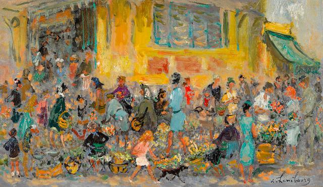 ANDRÉ  HAMBOURG (1909-1999) Le marché de Menton 10 3/4 x 18 1/8 in (27.2 x 46.1 cm) (Painted in 1967)