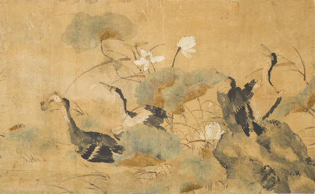 Anonymous (19th/20th century)  Cormorants and Lotus