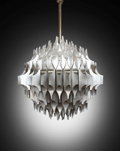 Sami El-Khazen Unique Torciere della Cultura Ceiling Light1964-65for Arredoluce, nickel plated bronze, acrylicheight 40in (102cm); 42in (107cm)