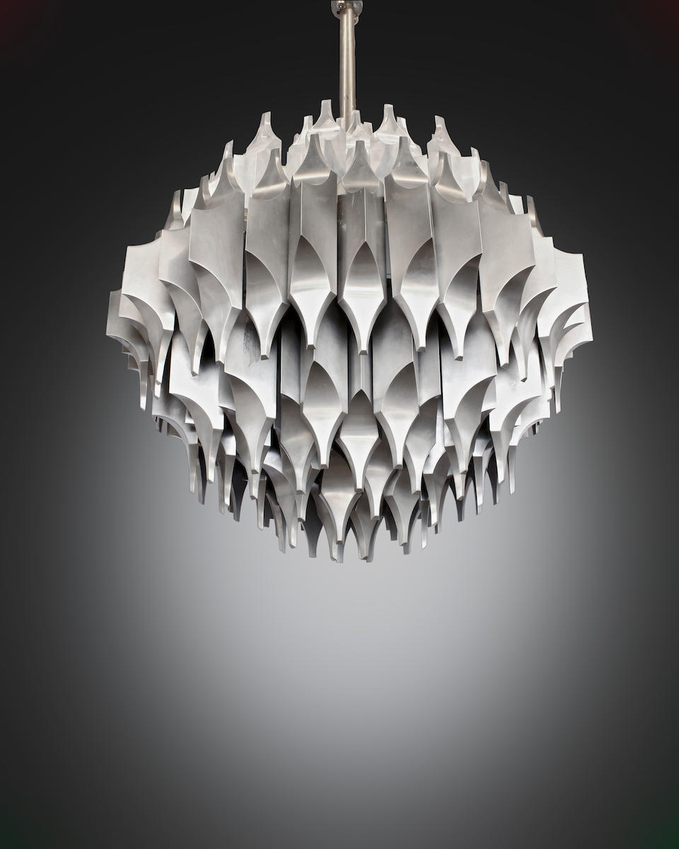Sami El-Khazen Unique Torciere della Cultura Ceiling Light1964-65for Arredoluce, nickel plated bronze, acrylicheight 40in (102cm); 42in (107cm)