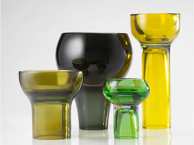 Antonio Da Ros Group of 4 vases 1964 (1 tall h 30 cm, 1 large h. 24 cm, 1 medium h. 17 cm, 1 small h. 14 cm)