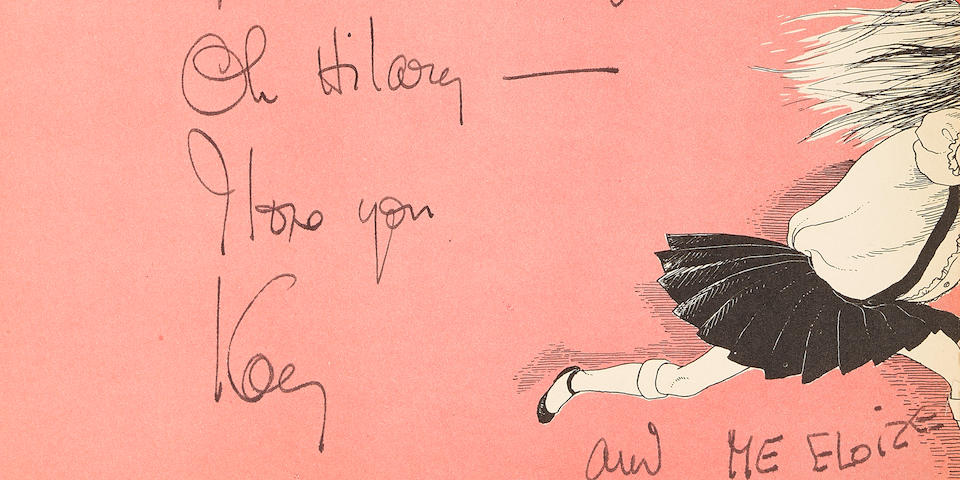 ELOISE, THE PRESENTATION COPY, INSCRIBED BY KAY THOMPSON TO HILARY KNIGHT. KNIGHT, HILARY, illus. Kay Thompson's Eloise.  New York: Simon and Schuster, 1955.