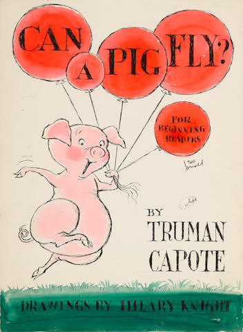 """ARCHIVE OF ORIGINAL ART FOR AN UNREALIZED HILARY KNIGHT COLLABORATION WITH TRUMAN CAPOTE, CAN A PIG FLY?  Capote, Truman. 1924-1984. Knight, Hilary, illus. Eight original artworks by Knight for an unpublished picture book in the Random House """"Beginner Books"""" series,"""