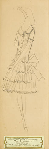 AN YVES ST. LAURENT PENCIL SKETCH FOR A PARTY DRESS FOR ELOISE. Pencil on paper, after Christian Dior for Eloise in Paris (1956),