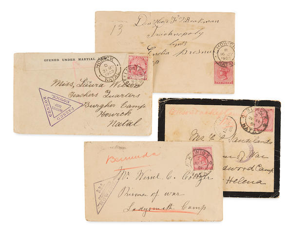 "Boer War 1899-1902: Howick Concentration Camp, Natal, South Africa. BOTHA, AINNIE. 3 Autograph Letters Signed (""Ann""),  in Africaans, 12 pp, 8vo, Howick Concentration Camp, January, May and November, [1901],"