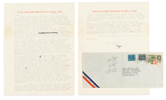 """HEMINGWAY, ERNEST. 1899-1961. Typed Letter Signed (""""Papa"""") to Robert Manning, regarding his piece about Hemingway in Time magazine, 2 pp, quarto, San Francisco de Paula, Cuba, December 30, 1954, on Finca Vigia letterhead, with a few edits corrections in pen, including mailing envelope,"""