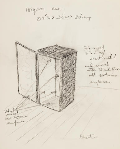 BURROUGHS, WILLIAM. 1914-1997.  Prentice, David. Preliminary sketch for an Orgone Accumulator built for William Burroughs [New York; May, 1974]