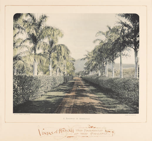 HAWAII AT THE WORLD COLUMBIAN EXPOSITION: PHOTOGRAPHY. THURSTON, LORRIN ANDREWS. 1858-1931. Vistas of Hawaii: A Roadway in Honolulu. St. Joseph, MI: Chicago Photo Gravure Co. for W.F. Sesser, [1891].