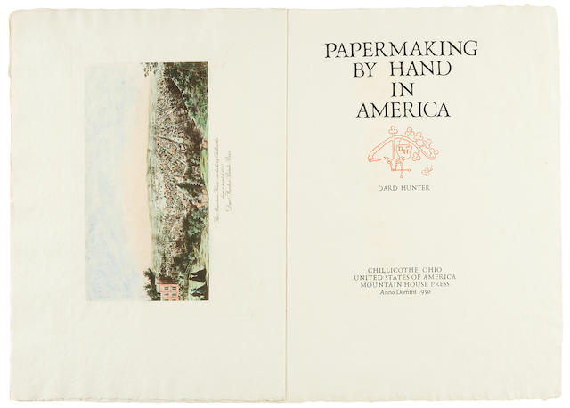 HUNTER, DARD. 1883-1966. Papermaking by Hand in America. Chillicothe, Ohio: Mountain House Press, 1950.