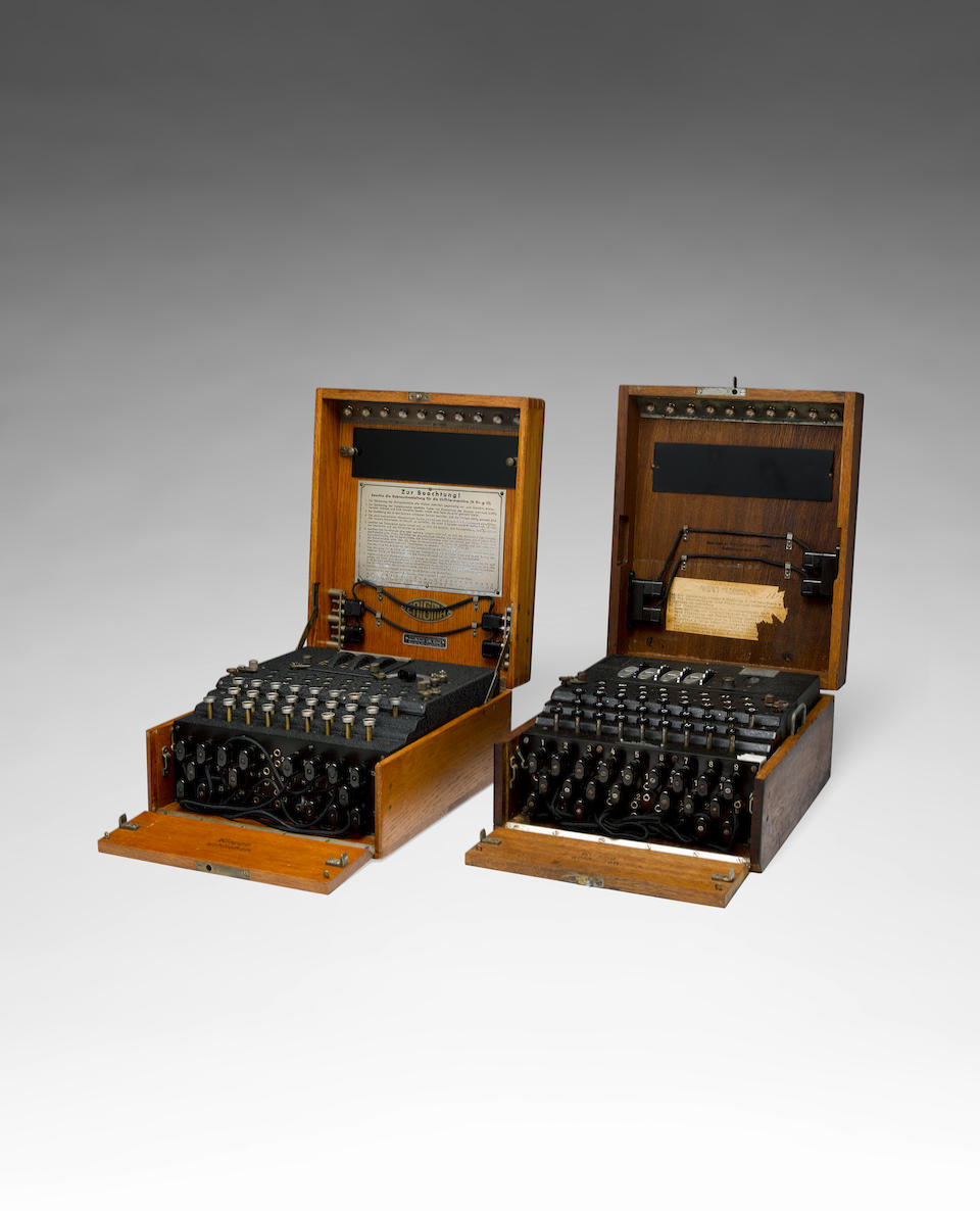M4 Enigma machine for German naval use. A German Naval 4-rotor Enigma enciphering machine (M4).  Made by Heimsoeth and Rinke, Berlin, 1943.