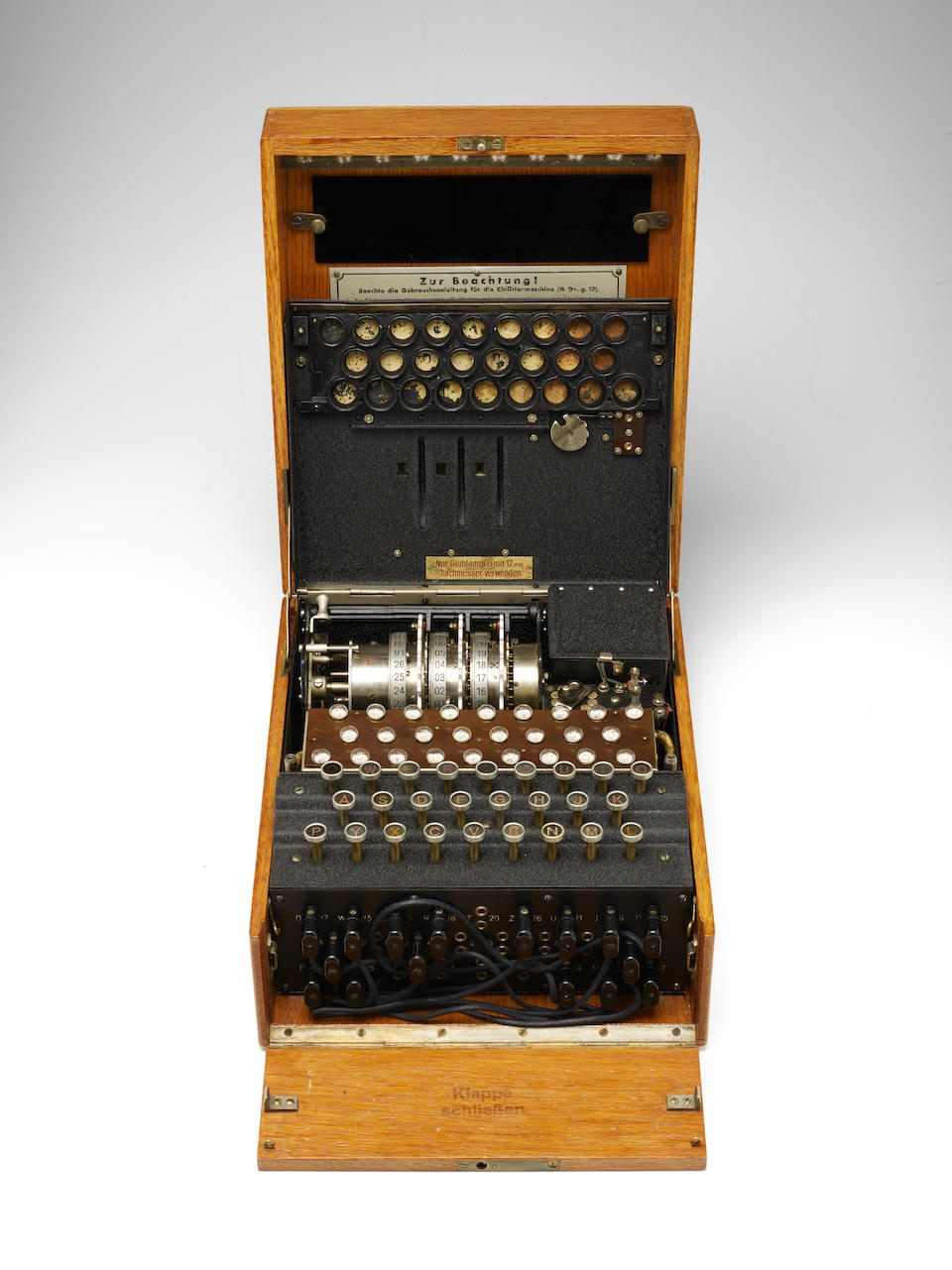 ENIGMA MACHINE A Rare 3-Rotor German Enigma I Enciphering Machine (aka Heeres Enigma), made by Heimsoeth und Rinke, Berlin, 1935.
