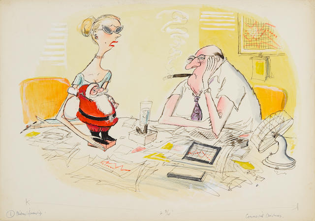 "SEARLE, RONALD. 1920-2011. A series of three original watercolors, ""Commercial Christmas,"" ""Office Parties,"" and ""Giftmanship,"" unused illustrations for the article ""Christmas Lifemanship,"" Holiday Magazine, c.1960,"