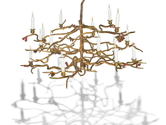 Claude Lalanne (Born 1924) Unique Structure Végétal aux Papillons Chandelier1998gilt and patinated bronze, galvanized copper, with fifteen lights, stamped 'LALANNE 1/1 CL 98 LALANNE'height 29 1/2in (75cm); diameter 46in (117cm)