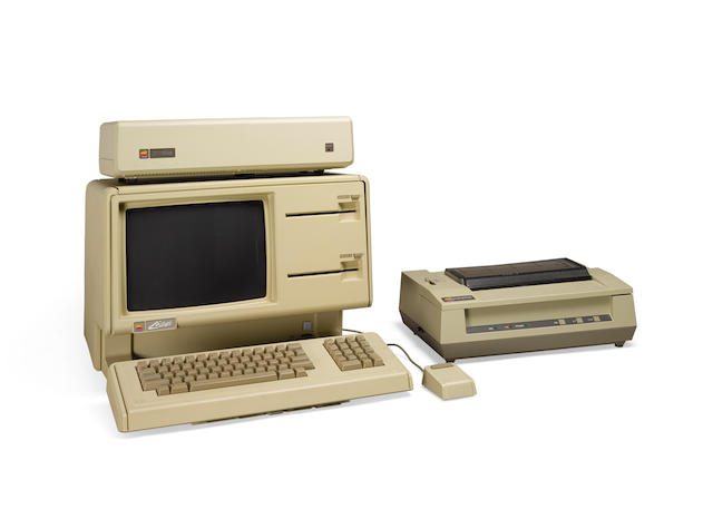 APPLE LISA. Microcomputer, Cupertino, CA, 1983, with built-in monitor, 2 5.25-inch floppy disk drives,