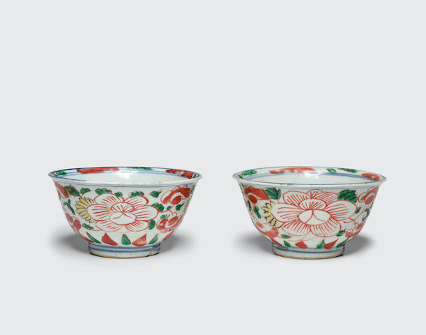 Two wucai-decorated export bowls 17th century