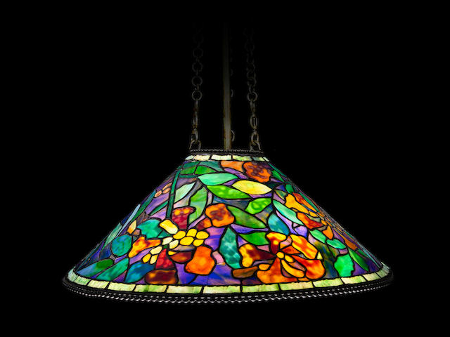 Tiffany Studios (1899-1930) Rare and Early Trumpet Creeper Hanging Lamp1902-05leaded glass and patinated bronzedrop 48 1/2in (123 cm); diameter 25in (63.5 cm)