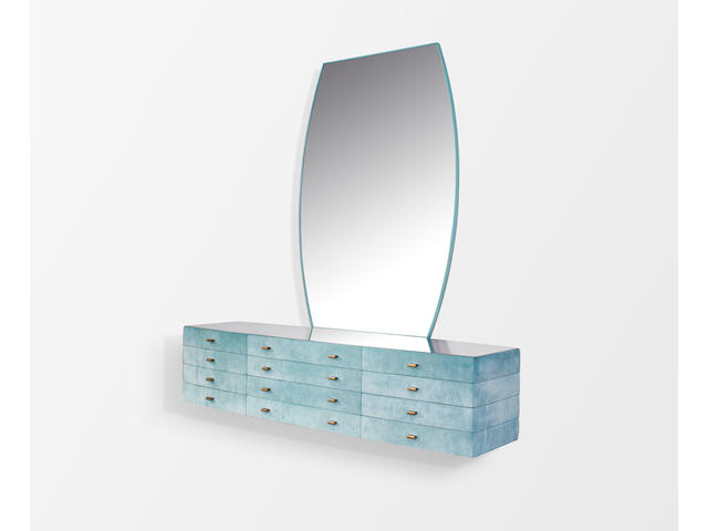 Osvaldo (1911-1985) and Valeria Borsani  Unique Wall-Mounted Chest of Drawers and Mirror 1971for Tecno, alcantara covered oak, bronze pulls, lacquered wood, mirror platechest height 18 (46cm); width 78 3/4in (200cm); depth 23 1/4in; mirror height 64 1/2in (164cm); width 43 1/2in (110cm)