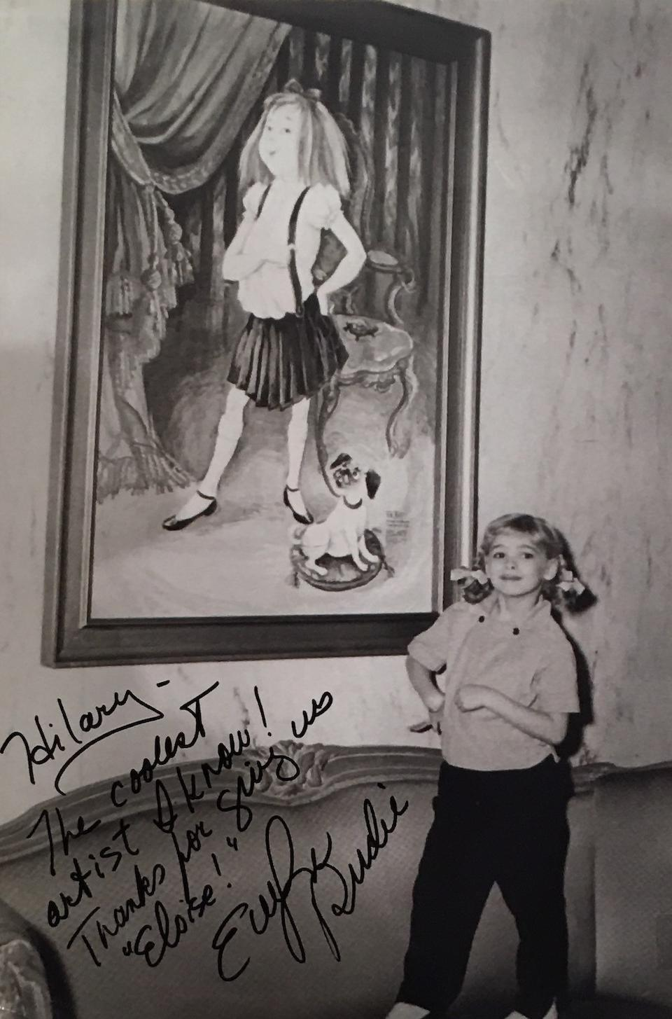Hilary Knight's ORIGINAL Plaza Hotel portrait of ELOISE. Tempera on board, 54 x 37 inches (1371 x 934 mm), framed: 59 x 42 inches (1500 x 1053 mm),