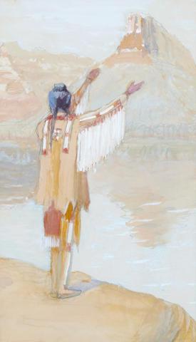 Edwin W. Deming (1860-1942) Rain Prayer 9 1/2 x 6in