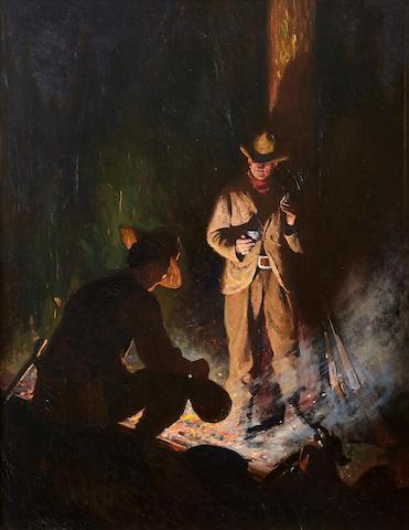 William Herbert Dunton (1878-1936) Camp of the Bear Hunters 32 1/4 x 25 1/4in (Painted in 1913.)