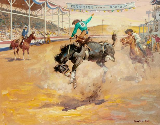 Charlie Dye (1906-1972) Pendleton Roundup 8 x 10in