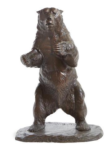 Eli Harvey (1860-1957) Study for 'Bruno' the Brown University Bear (Standing Bear) 24in high (Modeled in 1922. )