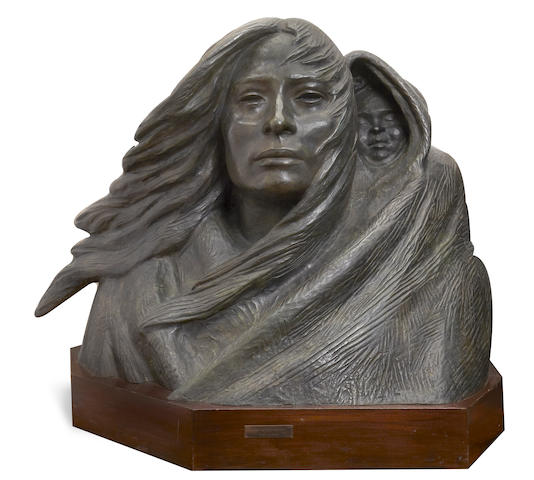 Harry Jackson (1924-2011) Indian Mother and Child 30in high (Modeled and cast in 1980.)