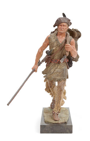 Harry Jackson (1924-2011) The Trapper 22in high (Modeled in 1970, cast and painted in 1971.)