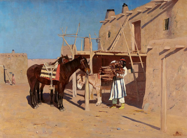 Gaspard de Latoix (1858-1918) New Mexico Pueblo 22 x 30in