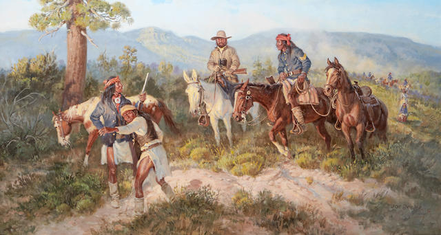 Joe Neil Beeler (1931-2006) On the Trail of Geronimo 22 x 40in (Painted in 1979.)