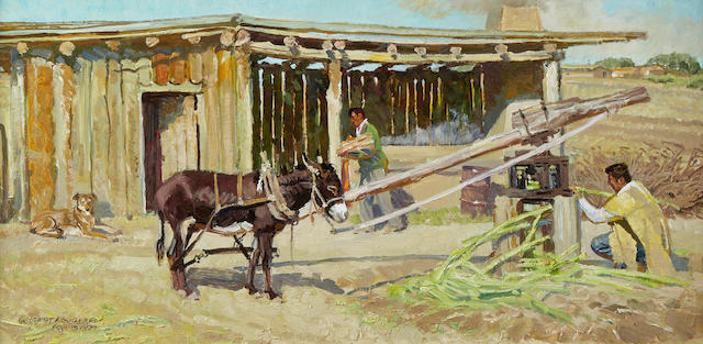Robert Elmer Lougheed (1910-1982) The Making of Sugar 12 x 24in (Painted in 1979.)