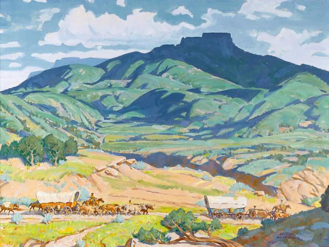 Arthur Mitchell (1889-1977) Wagon Train at Fischer's Peak 24 x 32in