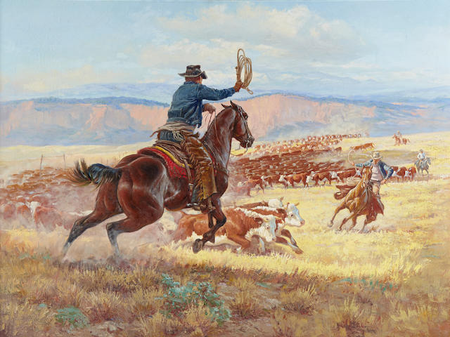 George Phippen (1915-1966) The Roundup 30 x 40in