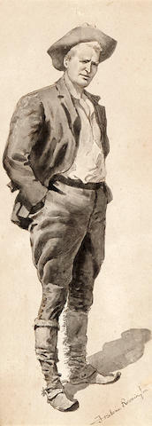 Frederic Remington (1861-1909) My Comrade 19 3/4 x 9in (Executed in 1893-94.)