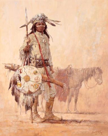 Kenneth Riley (1919-2015) Chiricahua Warrior 30 x 24in
